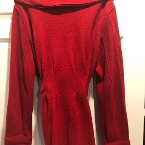 CAbi red sweater/jacket built in belt.  XL